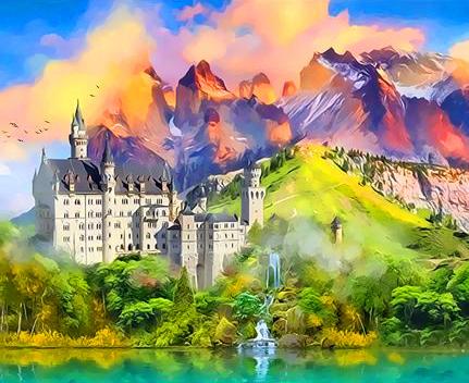 Картина по номерам 50x65 Замок в Баварии