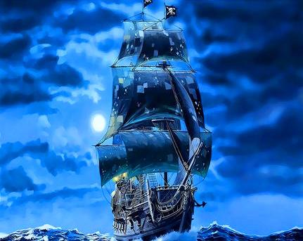 Картина по номерам 50x65 Пиратский корабль под светом луны