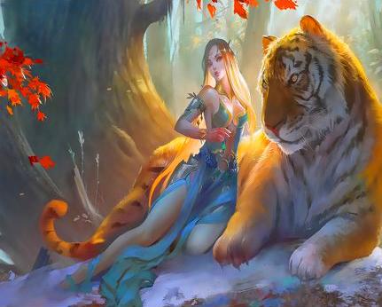 Картина по номерам 50x65 Ельфийка и большой тигр