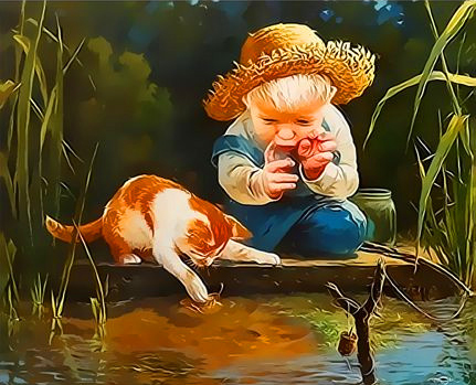 Картина по номерам 50x65 Мальчик и котенок ловят рыбу