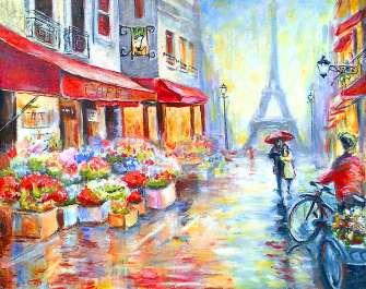 Картина по номерам 40x50 Цветочный магазин в Париже
