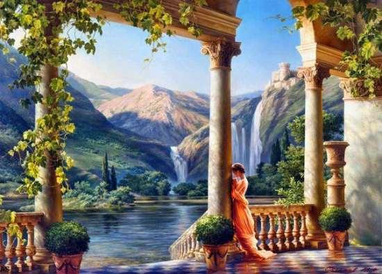 Картина по номерам 30x40 Девушка в беседки у горного озера
