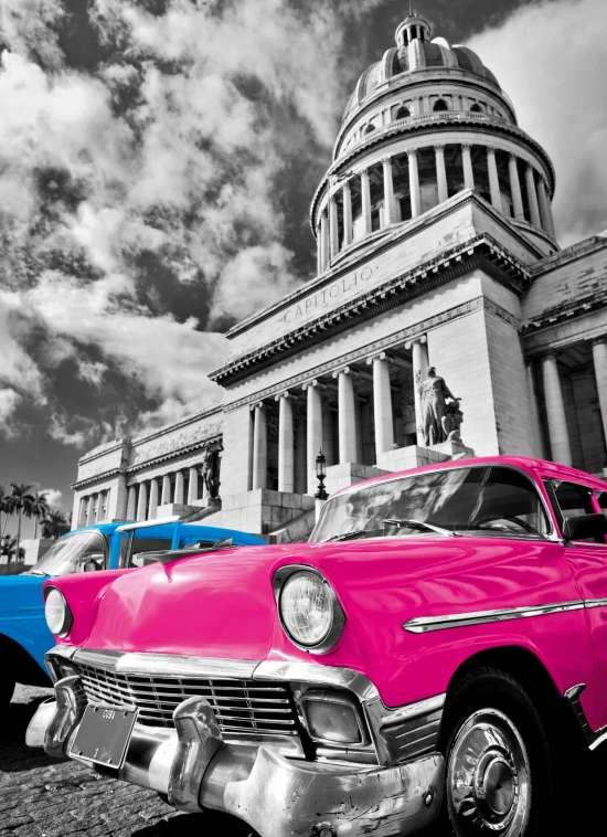 Мозаика полная 40x50 Автомобили на фоне Капитолия Гаванны