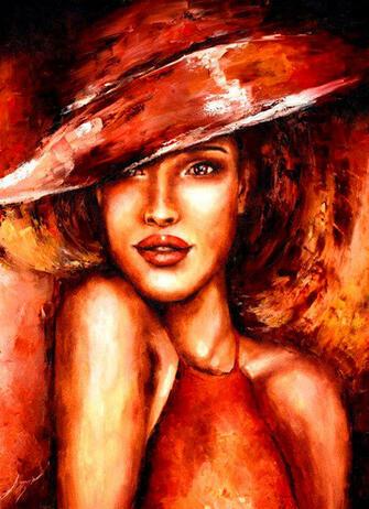 Алмазная вышивка 40х50 квадратная Девушка в шляпке в бордовых тонах
