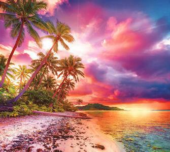 Алмазная вышивка 40х50 квадратная Фиолетовый закат на песчаном пляже