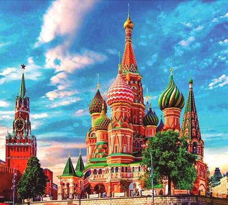 Алмазная вышивка 40х50 квадратная Вид на Собор Василия Блаженного и здания Кремля