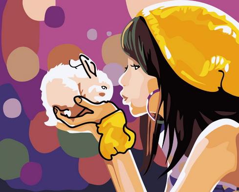 Картина по номерам 40x50 Девочка в желтой шляпе и белый крольчонок