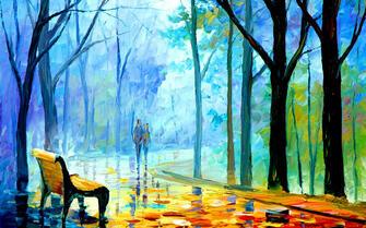 Картина по номерам 40x50 Пара осенью в парке