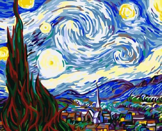 Картина по номерам 40x50 Звёздная ночь над Роной. Ван Гог