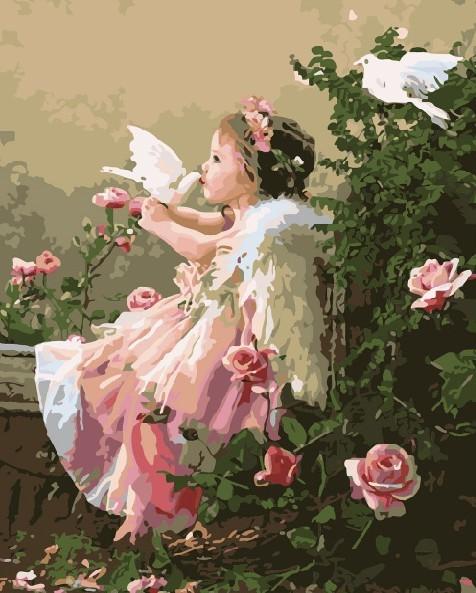 Картина по номерам 40x50 Ангелочек с белыми голубями