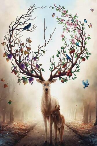 Картина по номерам 40x50 Олень-природа и его дитя