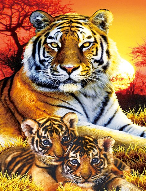 Алмазная мозаика 40x50 Тигрица с двумя тигрятами