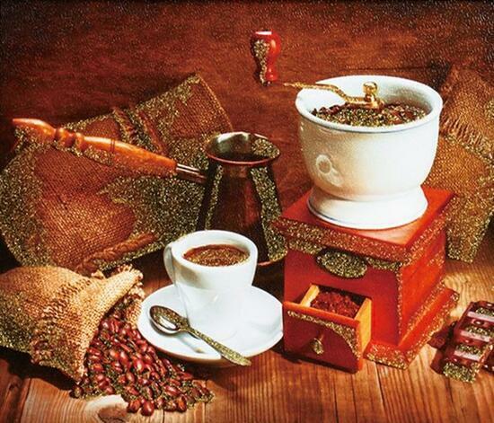 Алмазная мозаика 30x40 Чашечка с кофе и зерна в кофемолке