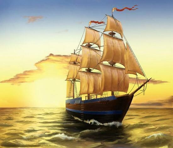 Алмазная мозаика 30x40 Корабль в море с красными флагами