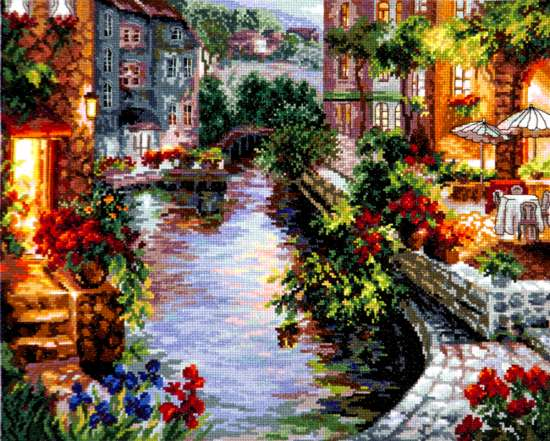 Алмазная мозаика 40x50 Городская река с высокой набережной