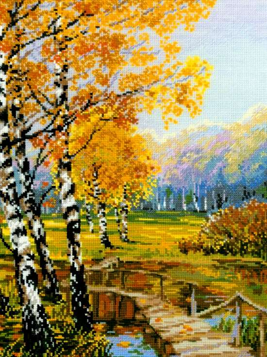 Алмазная мозаика 40x50 Деревянный мост среди леса