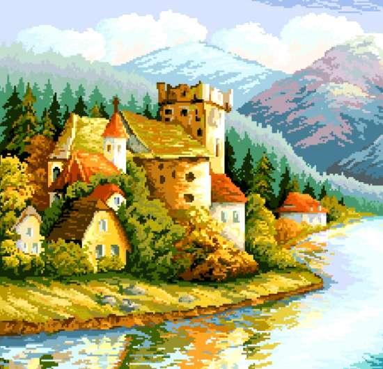 Алмазная мозаика 40x50 Замок у воды