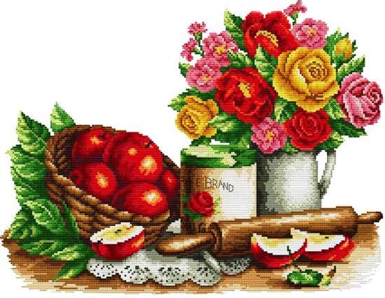 Алмазная мозаика 40x50 Букет цветов и красные яблоки