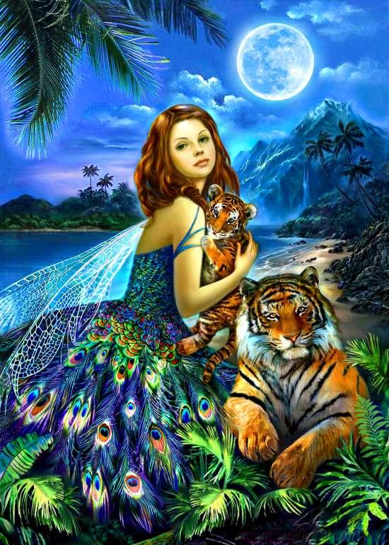 Алмазная мозаика 40x50 Фея с тигренком у моря