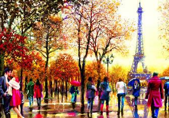Картина по номерам 40x50 Обычный день на улицах Парижа