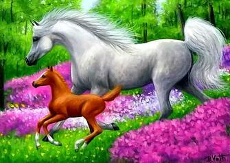 Картина по номерам 40x50 Лошади на цветочной поляне