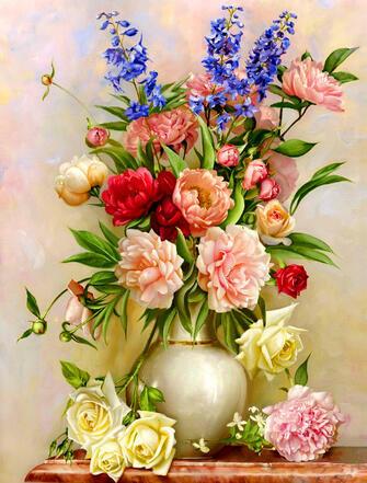 Картина по номерам 40x50 Пионы и розы в вазе
