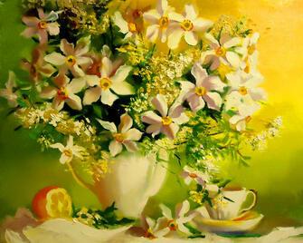 Картина по номерам 40x50 Нарциссы , лимон и жасминовый чай