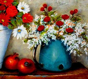 Картина по номерам 40x50 Цветы и красный гранат