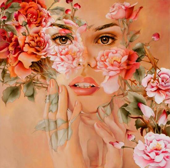 Картина по номерам 40x50 Девушка-цветы