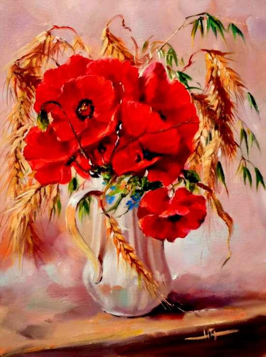 Картина по номерам 40x50 Полевые маки и колосья пшеницы