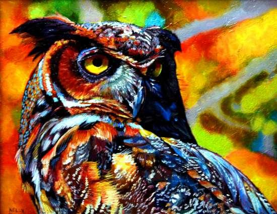 Картина по номерам 40x50 Красочная сова