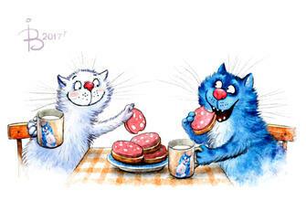 Картина по номерам 40x50 Сытный перекус котов