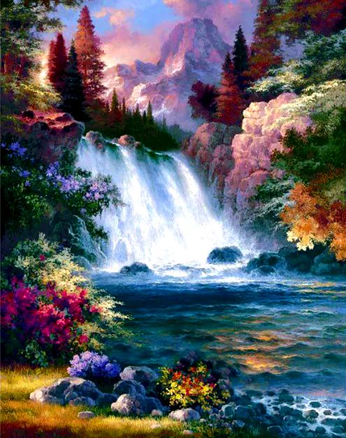 Картина по номерам 40x50 Водопад на фоне вулкана