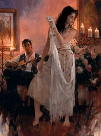Картина по номерам 40x50 Девушка танцует под гитару