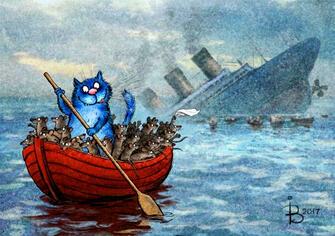 Картина по номерам 40x50 Кошачья история спасения мышей с Титаника