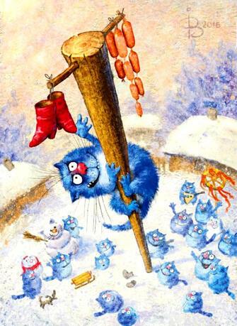 Картина по номерам 40x50 Кот на Масленице