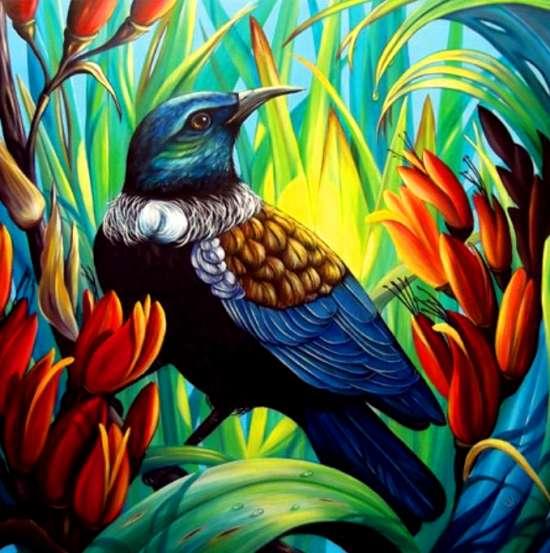 Картина по номерам 40x50 Гордая птица среди цветов
