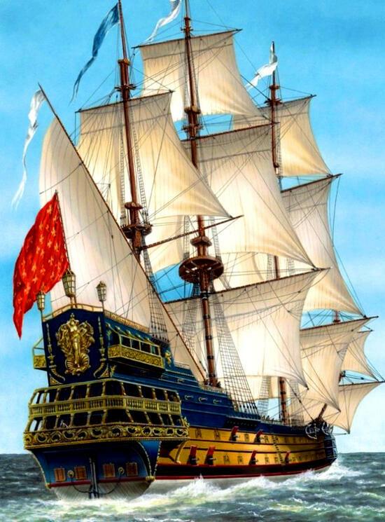 Картина по номерам 40x50 Боевой корабль в пути