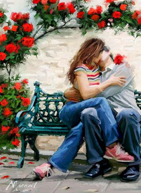 Картина по номерам 40x50 Влюбленный поцелуй под кустовой розой