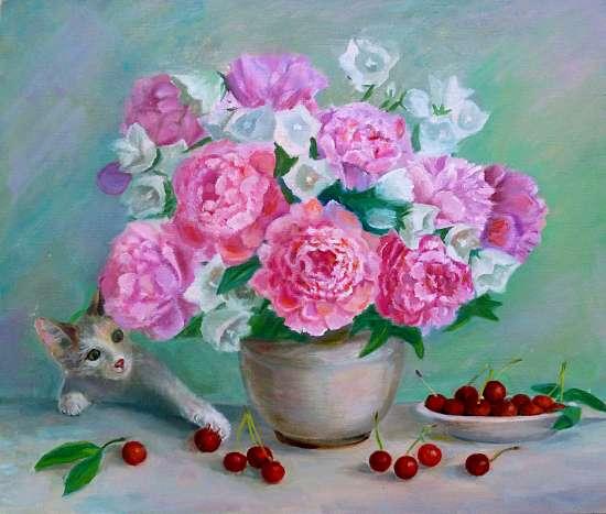 Картина по номерам 40x50 Котенок играет вишнями под большим букетом пионов
