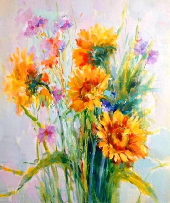 Картина по номерам 40x50 Букет с подсолнухами и полевыми цветами