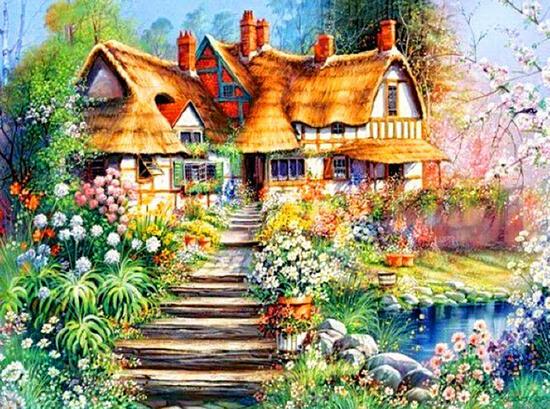 Картина по номерам 40x50 Сказочный дом с прекрасным садом