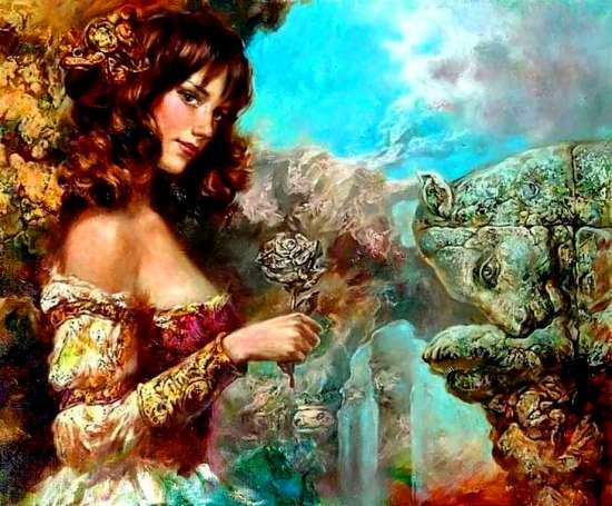 Картина по номерам 40x50 Девушка с каменной розой