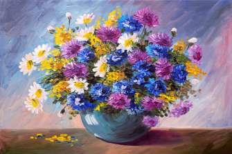 Картина по номерам 40x50 Романтический букетик в круглой вазе