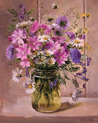 Картина по номерам 40x50 Букет из полевых цветов в банке