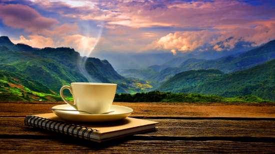 Картина по номерам 40x50 Чашка кофе с видом на горы