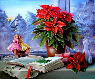 Картина по номерам 40x50 Цветок, книга и статуэтка