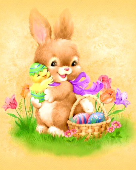 Картина по номерам 40x50 Кролик и цыпленок