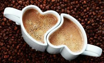 Картина по номерам 40x50 Чашки сердцем с вкусным кофе