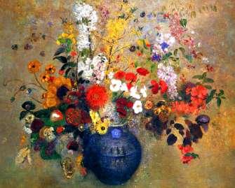 Купить синяя ваза с яркими цветами за 890 руб. в Москве